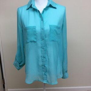 Sheer turquoise blouse size M